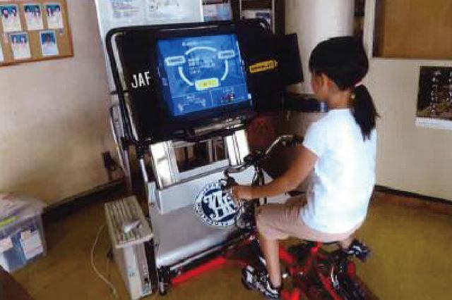 自転車運転シミュレーター体験